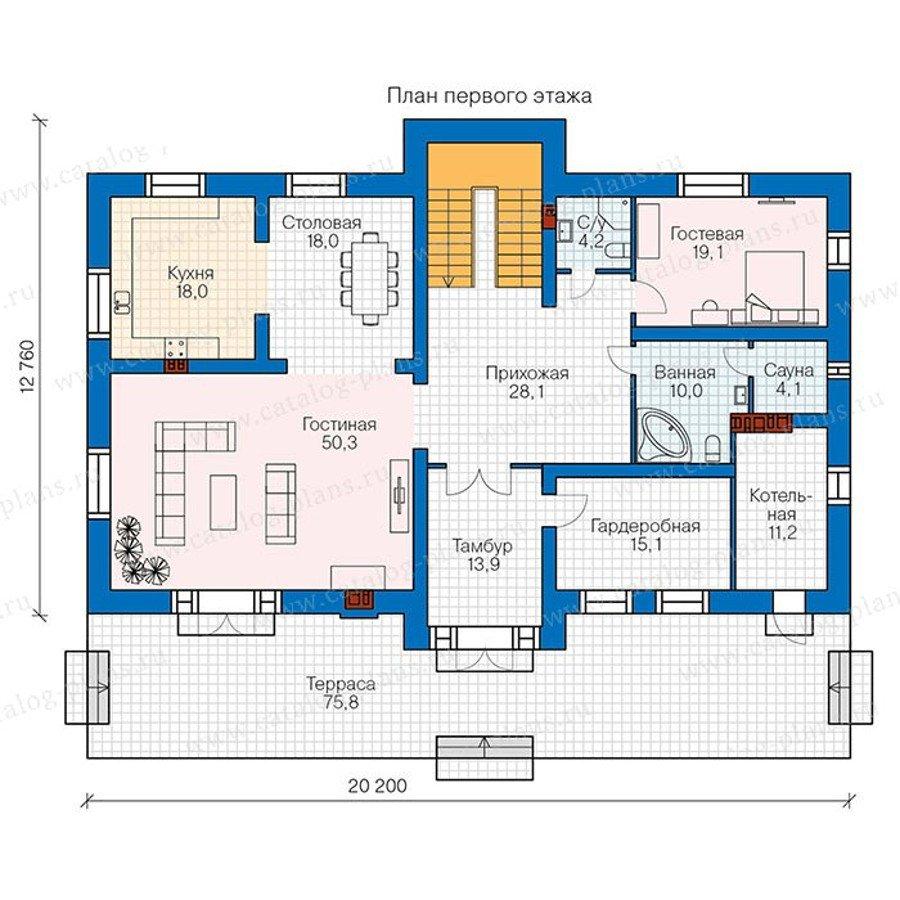 План 1-этажа проекта 48-33G