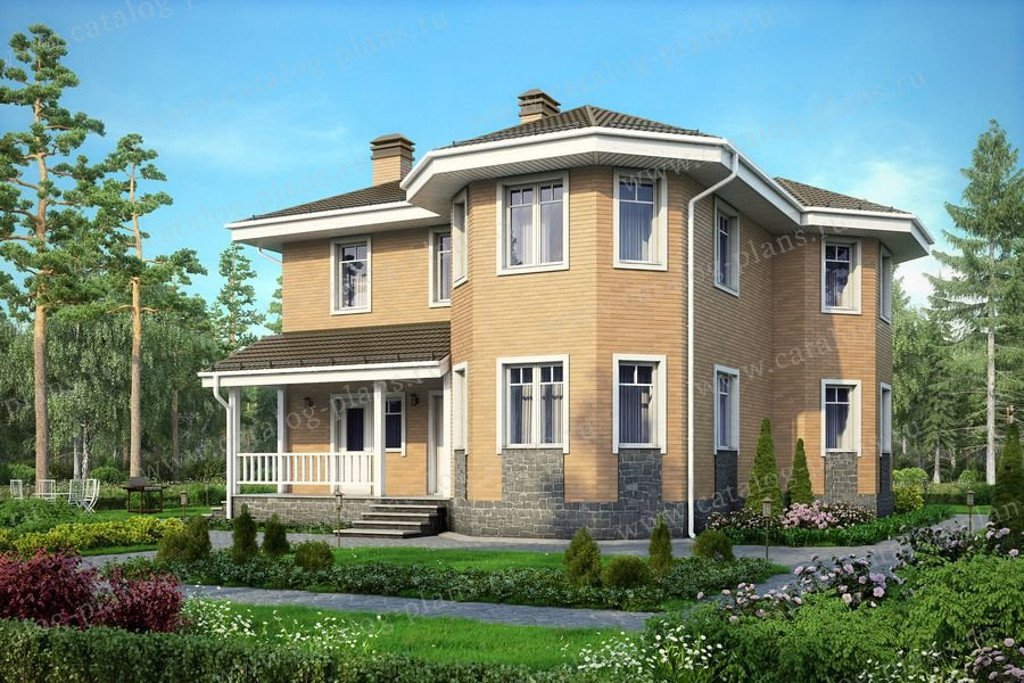 Проект жилой дом #56-97K материал - кирпич, стиль европейский