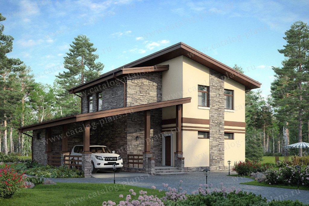 Проект жилой дом #48-20AK материал - кирпич, стиль современный