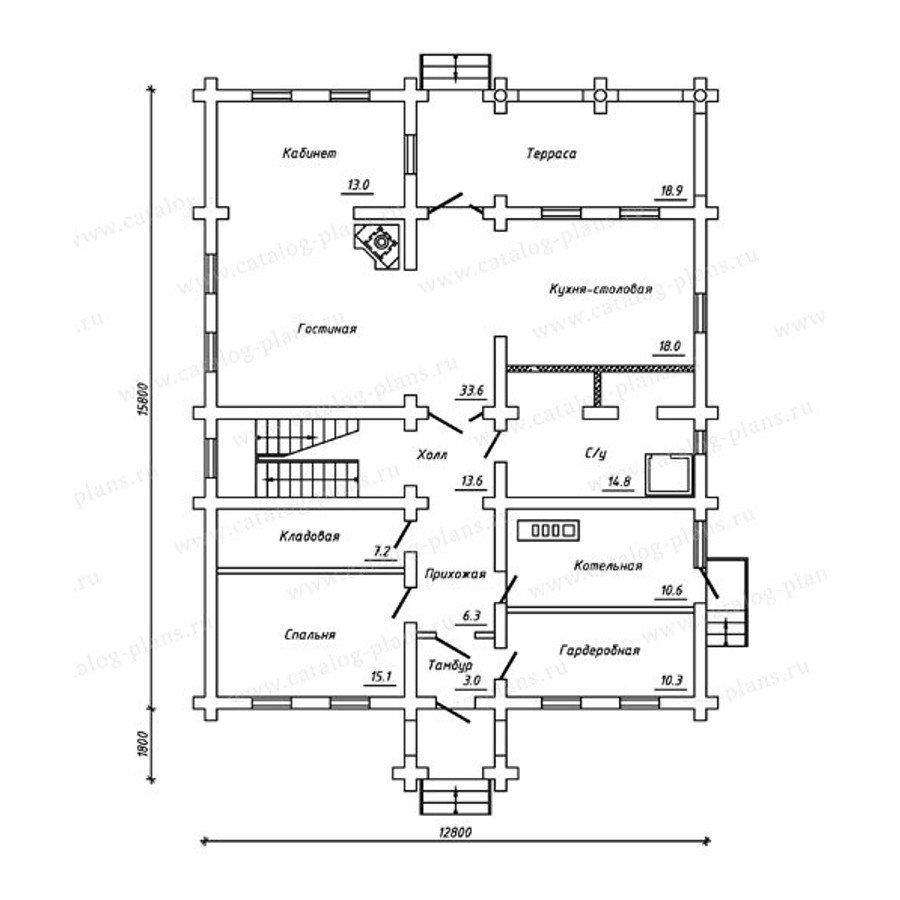 План 1-этажа проекта 13-26
