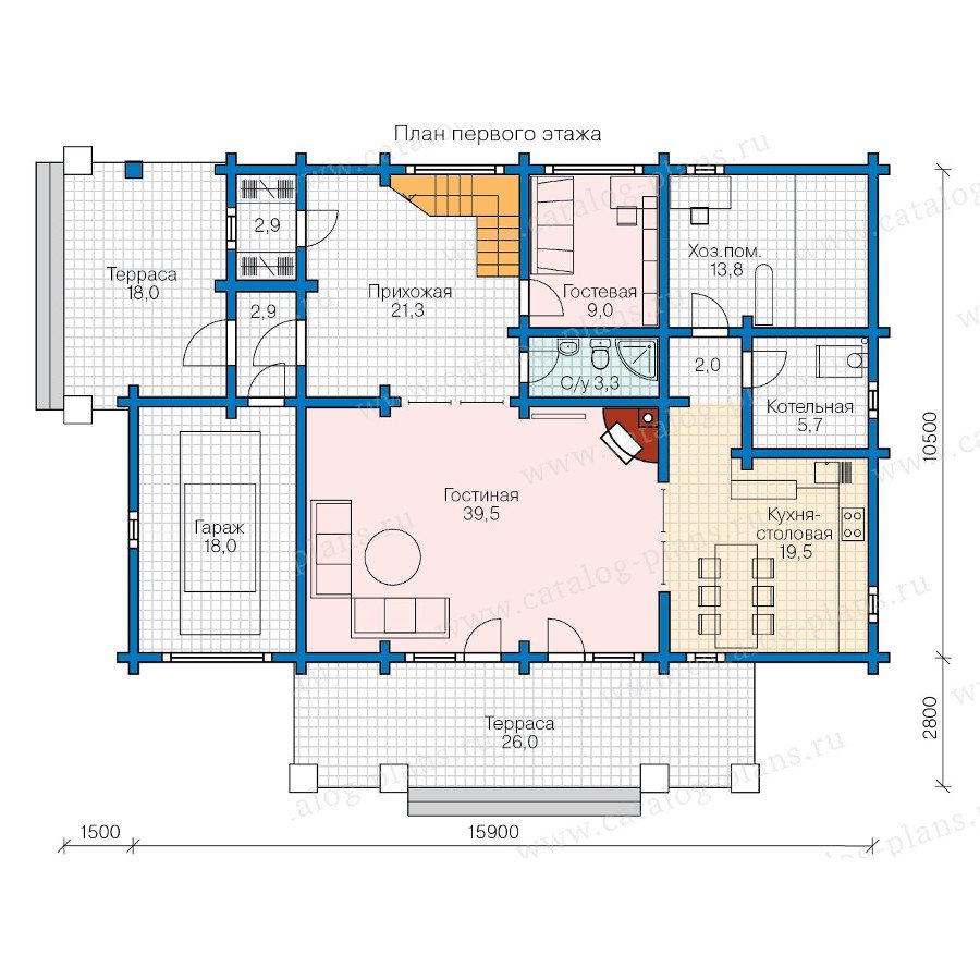 План 1-этажа проекта 13-58