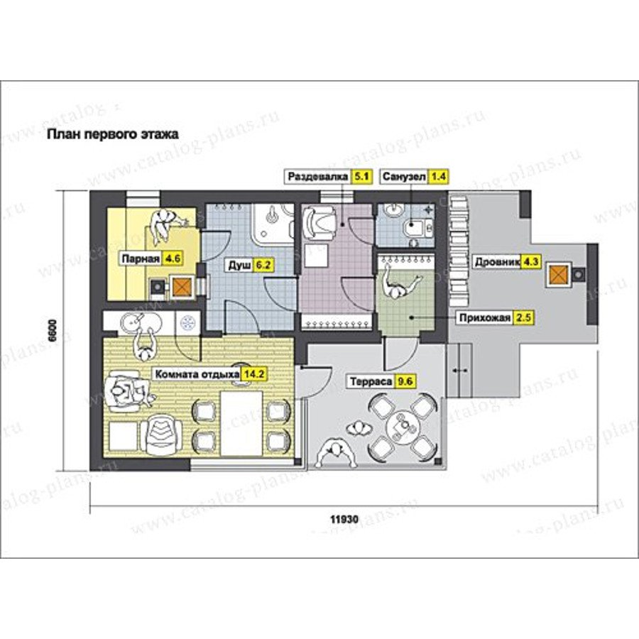 План 1-этажа проекта 13-22