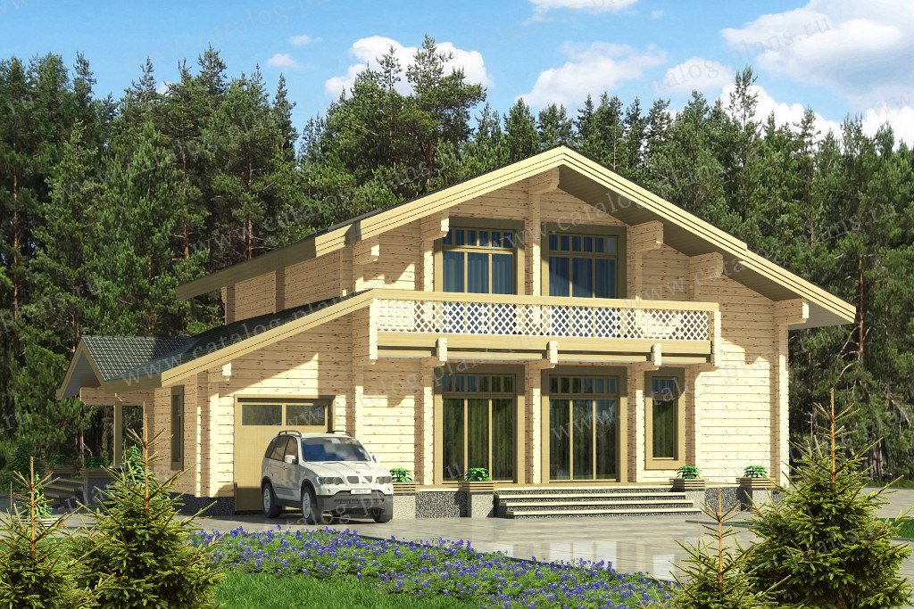 Проект жилой дом #13-58 материал - дерево, стиль шале