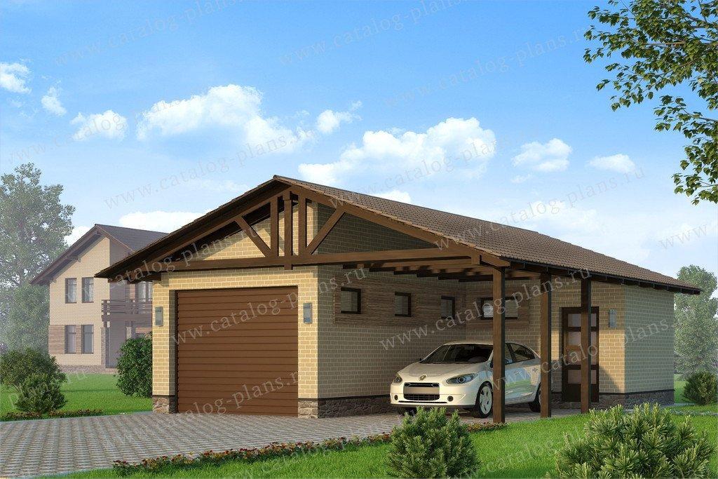 Проект гараж #90-46 материал - газобетон, стиль скандинавский