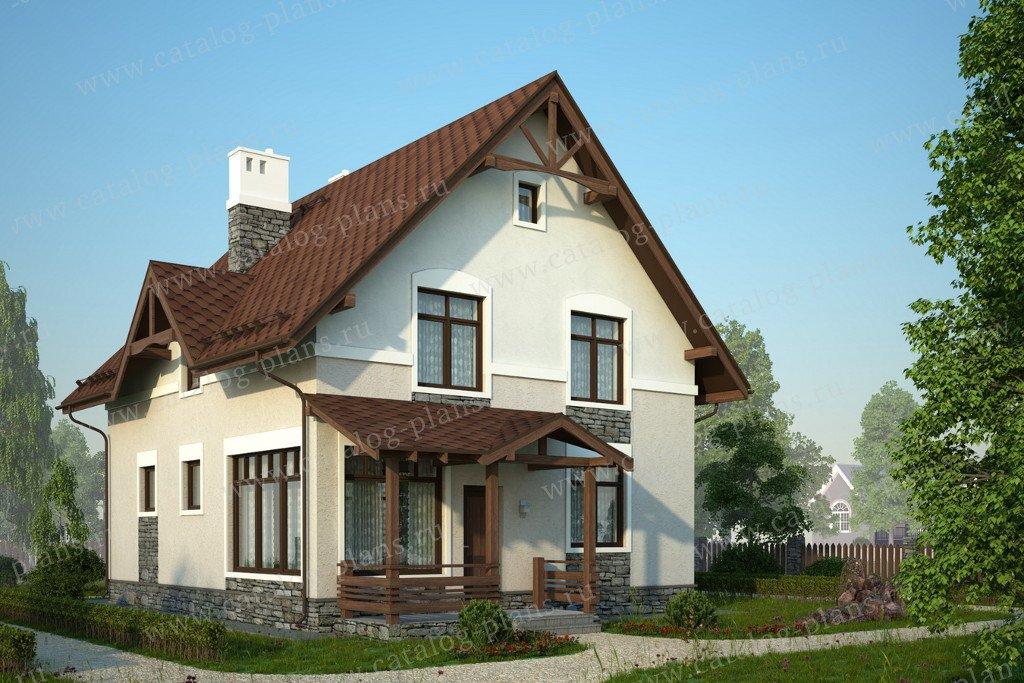 Проект жилой дом #60-84 материал - газобетон, стиль европейский