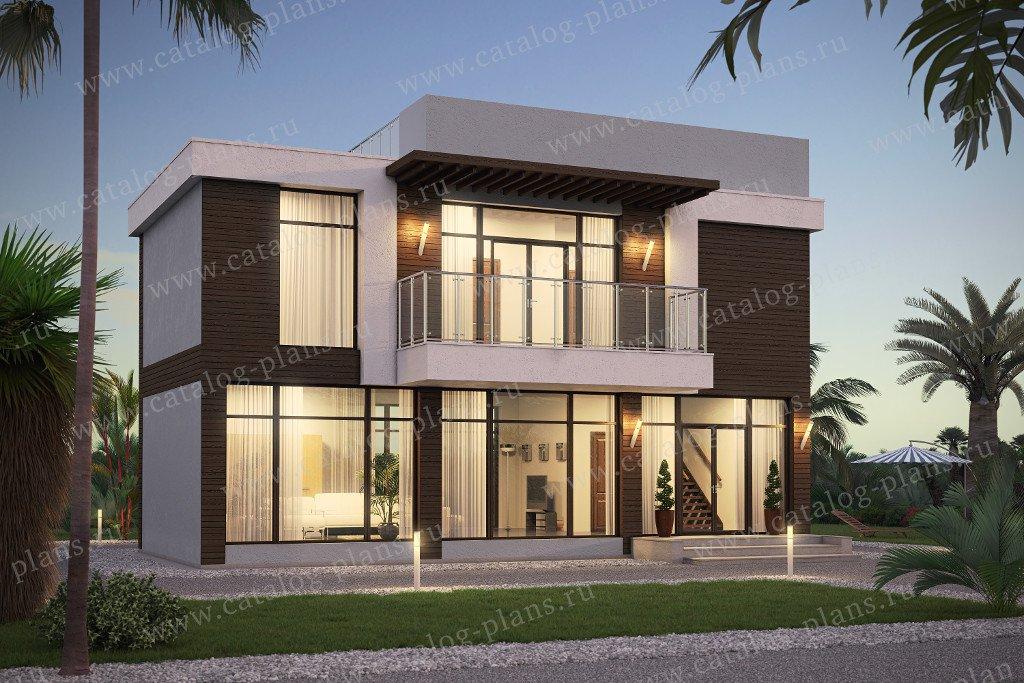 Проект жилой дом #60-78 материал - газобетон, стиль хай-тек