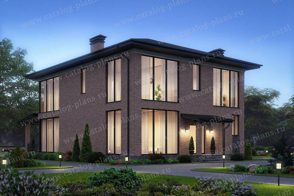 Проект жилой дом #40-45L материал - кирпич, стиль минимализм