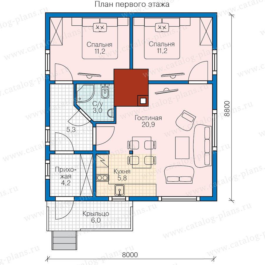 План 1-этажа проекта 70-76