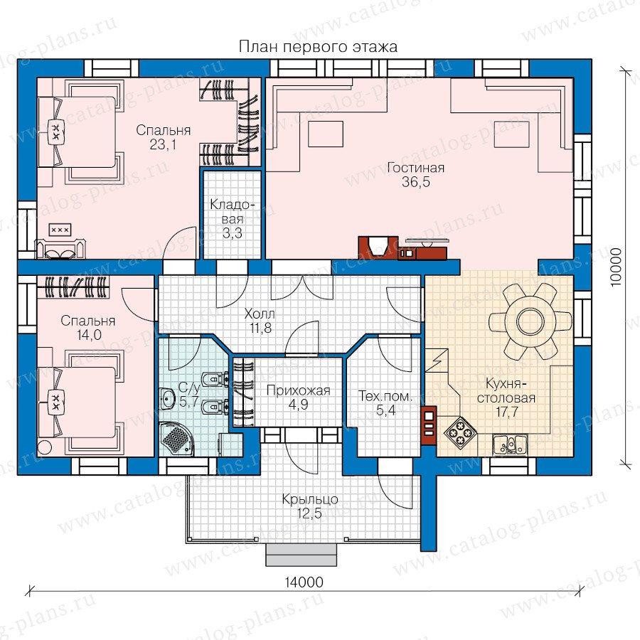 План 1-этажа проекта 60-82
