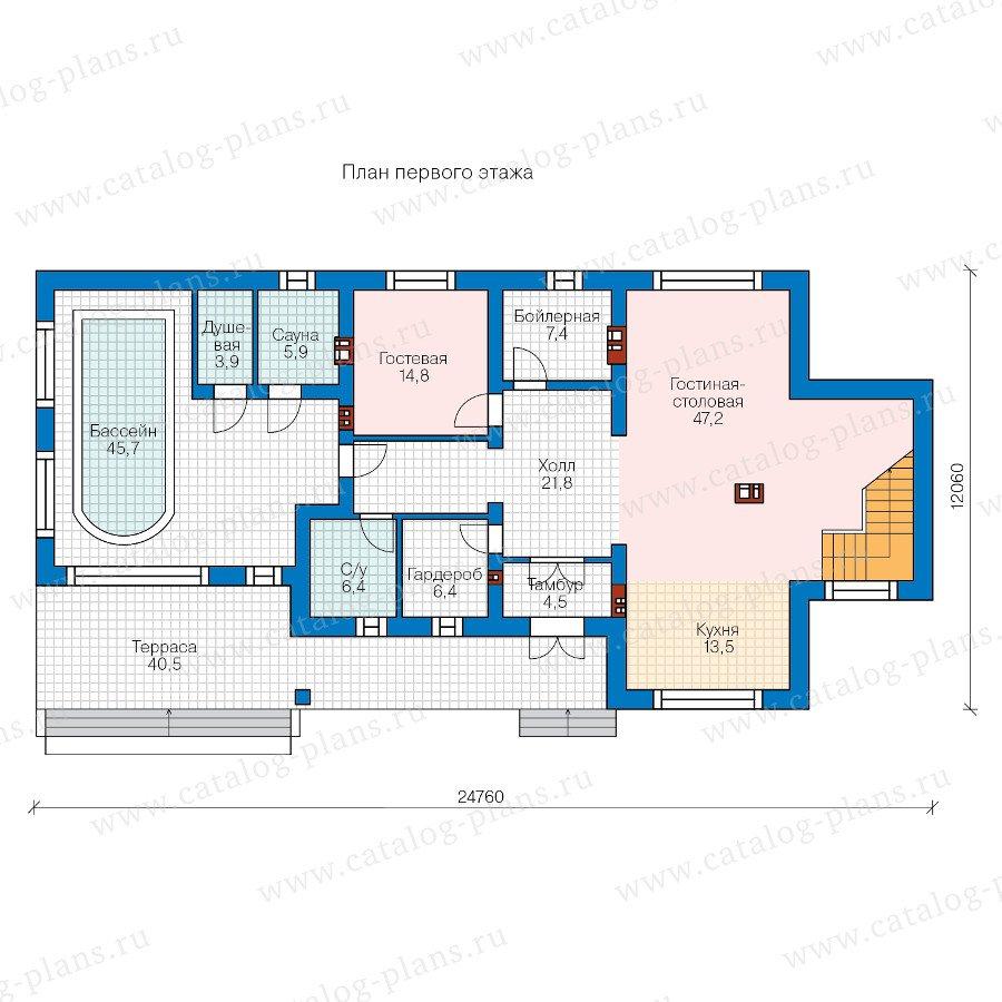 План 1-этажа проекта 58-40KL
