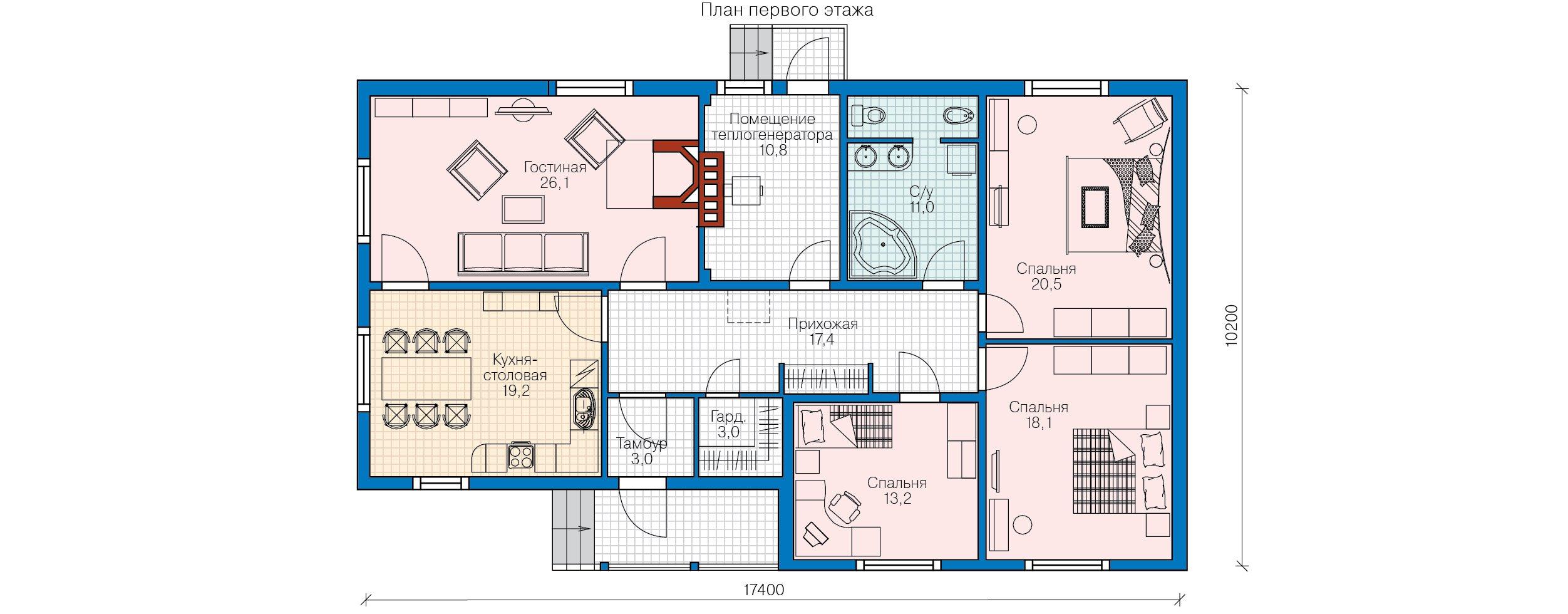 План 1-этажа проекта 70-09