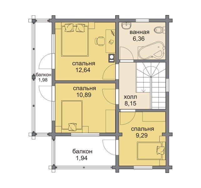 План 2-этажа проекта 13-10