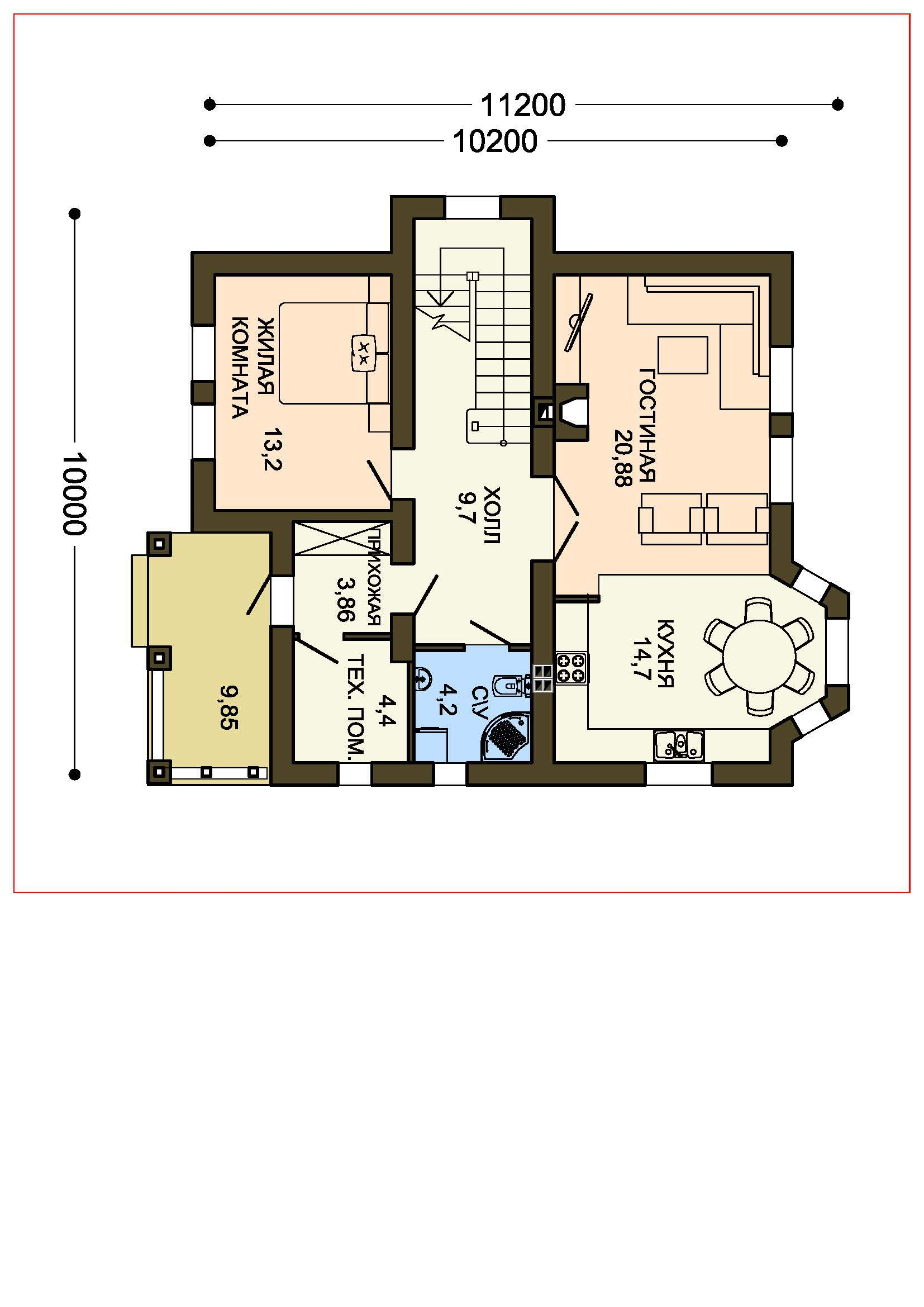 План 1-этажа проекта 60-56