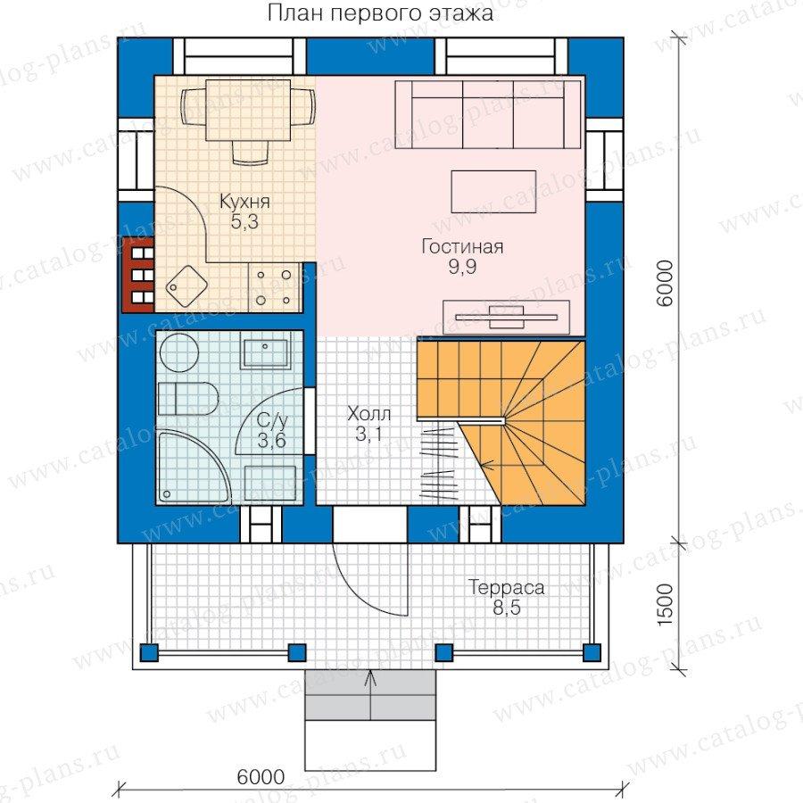 План 1-этажа проекта 58-56