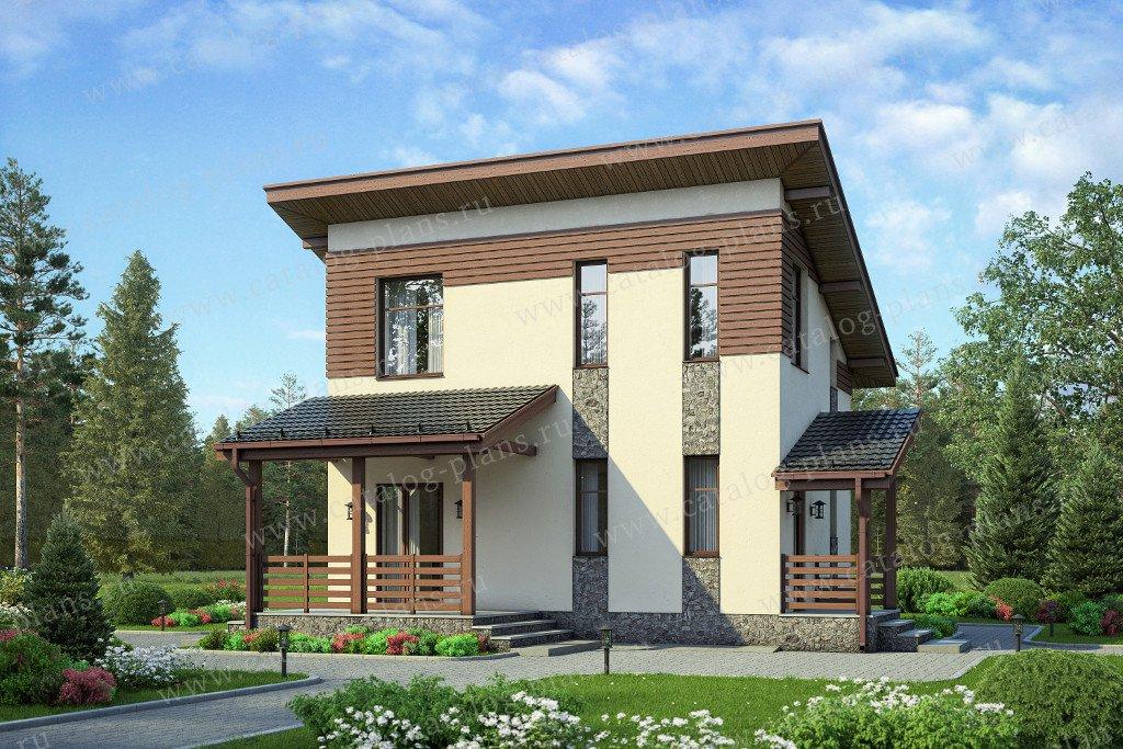 Проект дом #58-57 материал - газобетон, стиль хай-тек
