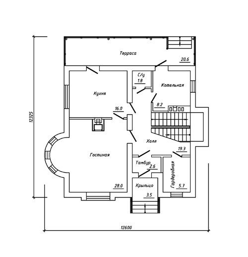 План 1-этажа проекта 60-03