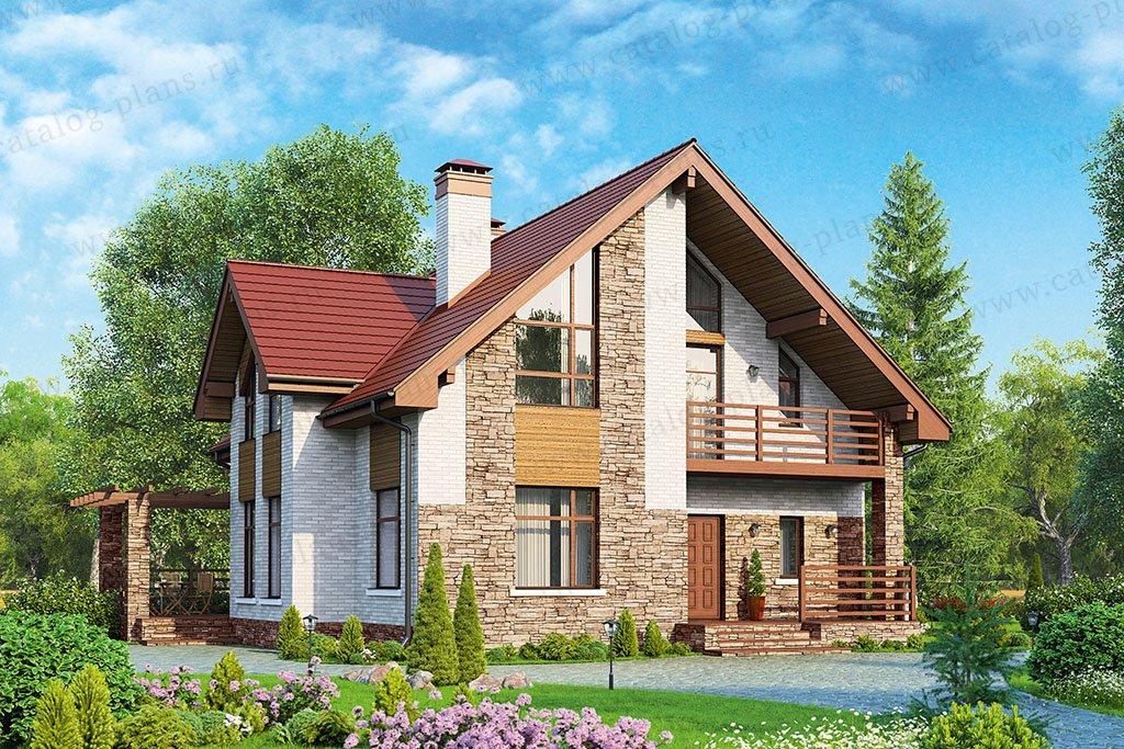 Проект жилой дом #57-00L материал - газобетон, стиль современный