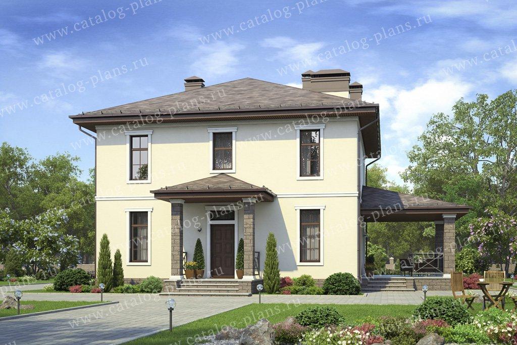 Проект жилой дом #57-05C материал - газобетон, стиль европейский