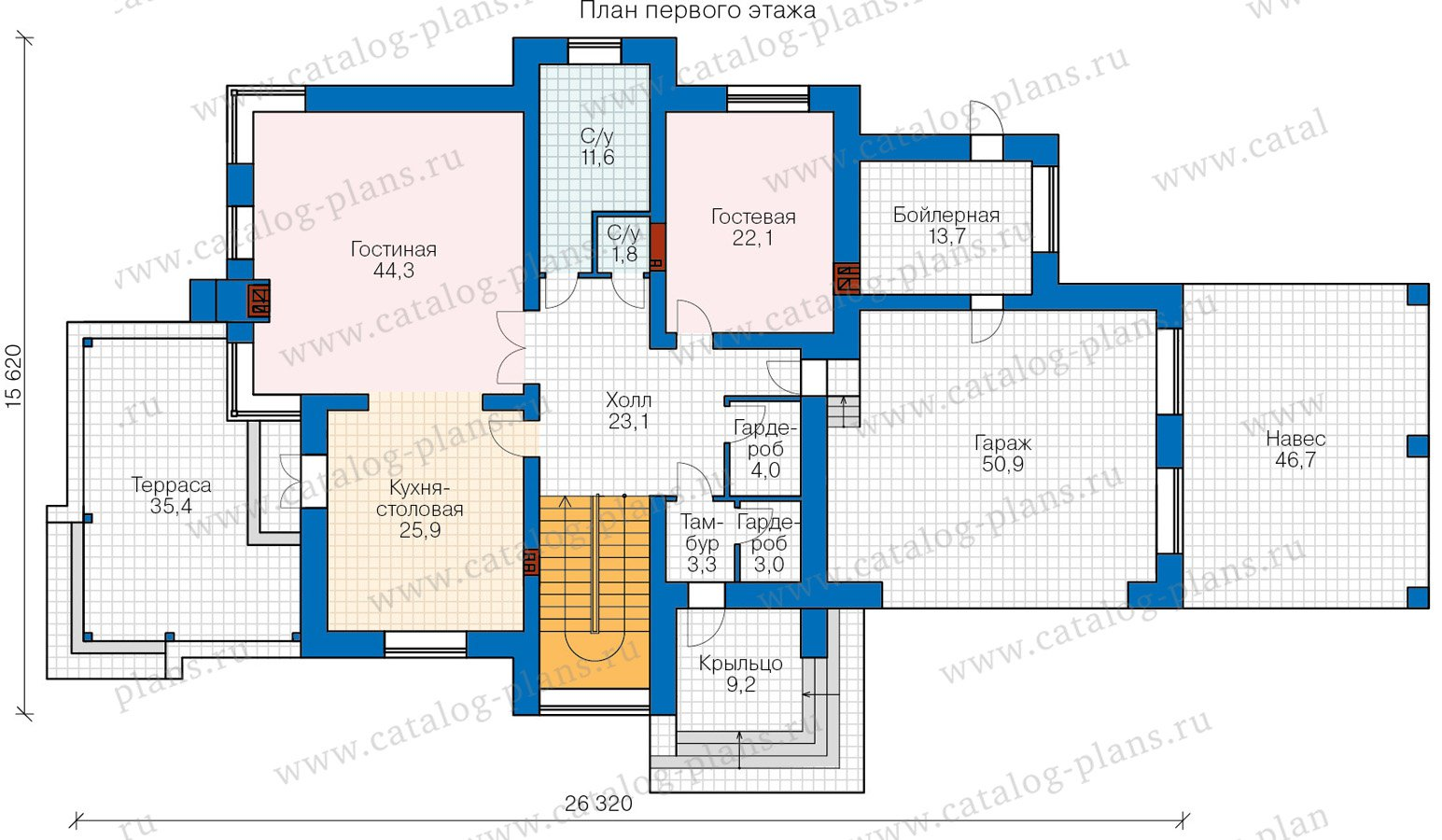 План 1-этажа проекта 48-30A