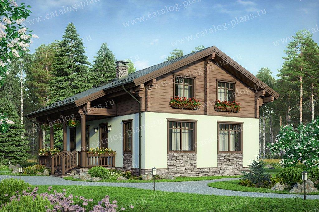 Проект жилой дом #60-85 материал - комбинированный, стиль шале