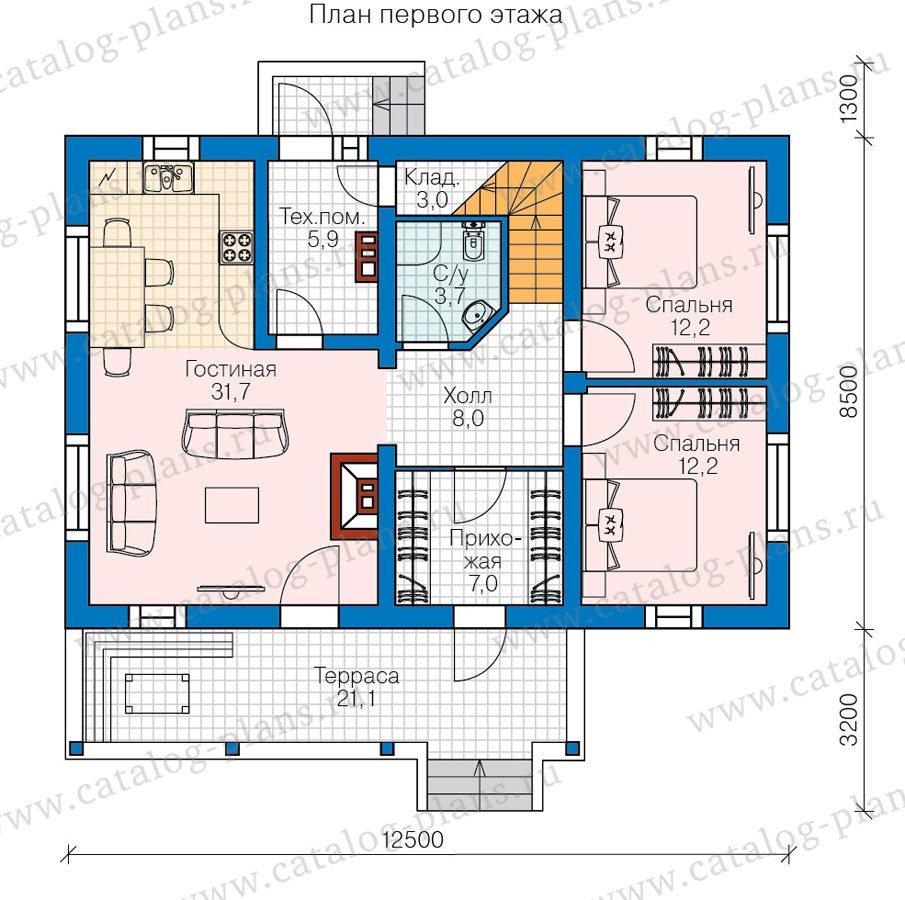 План 1-этажа проекта 60-85