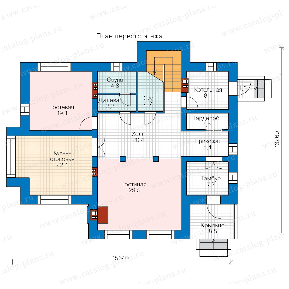План 1-этажа проекта 40-44L