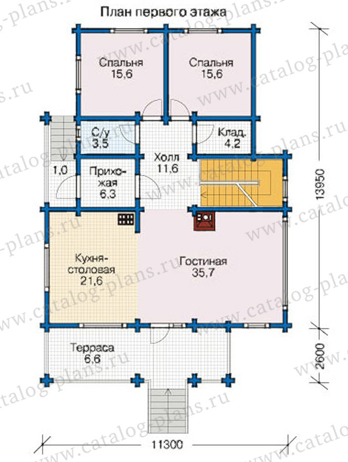 План 2-этажа проекта 12-59