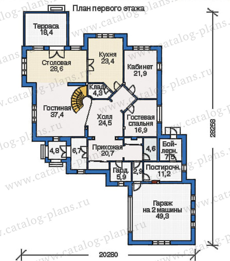 План 1-этажа проекта 35-17