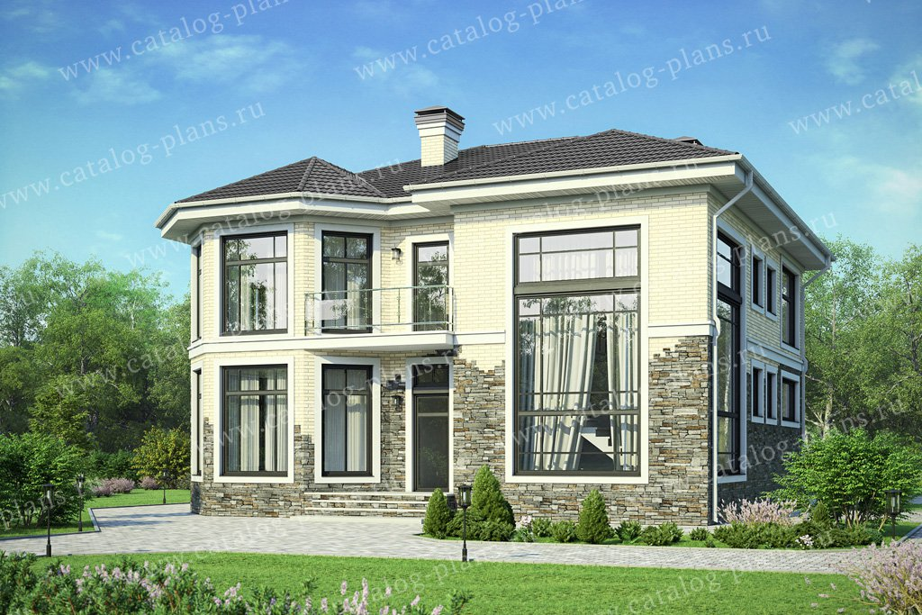 Проект жилой дом #48-21b материал - кирпич, стиль классический