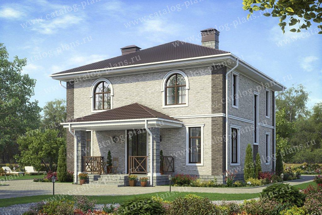 Проект жилой дом #57-05A материал - кирпич, стиль европейский