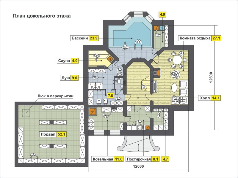 План 1-этажа проекта 59-78A