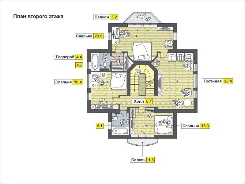 План 3-этажа проекта 59-78A