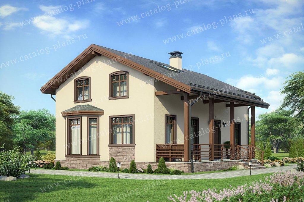 Проект жилой дом #60-87 материал - газобетон, стиль европейский