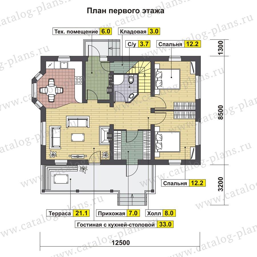План 1-этажа проекта 60-87