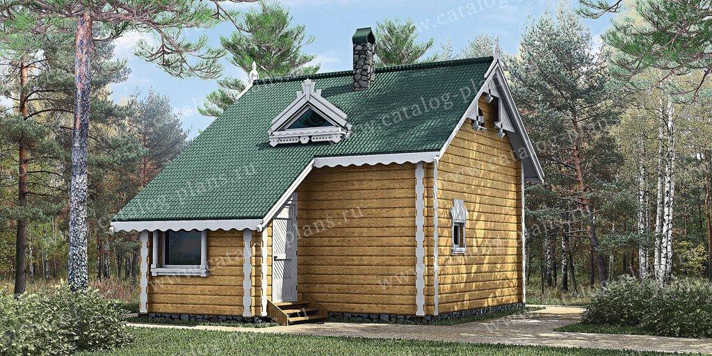Проект баня #10-79 материал - дерево, стиль Русская усадьба