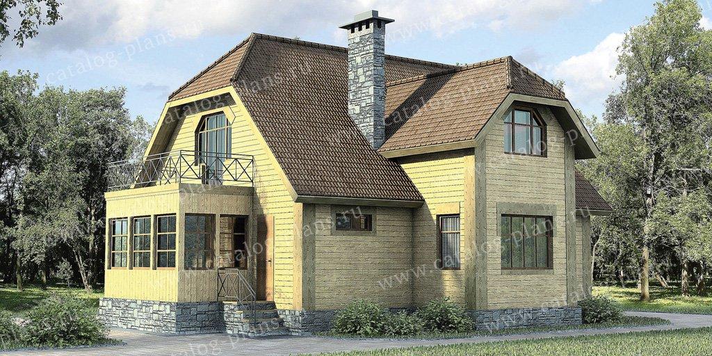 Проект жилой дом #10-41 материал - дерево, стиль европейский