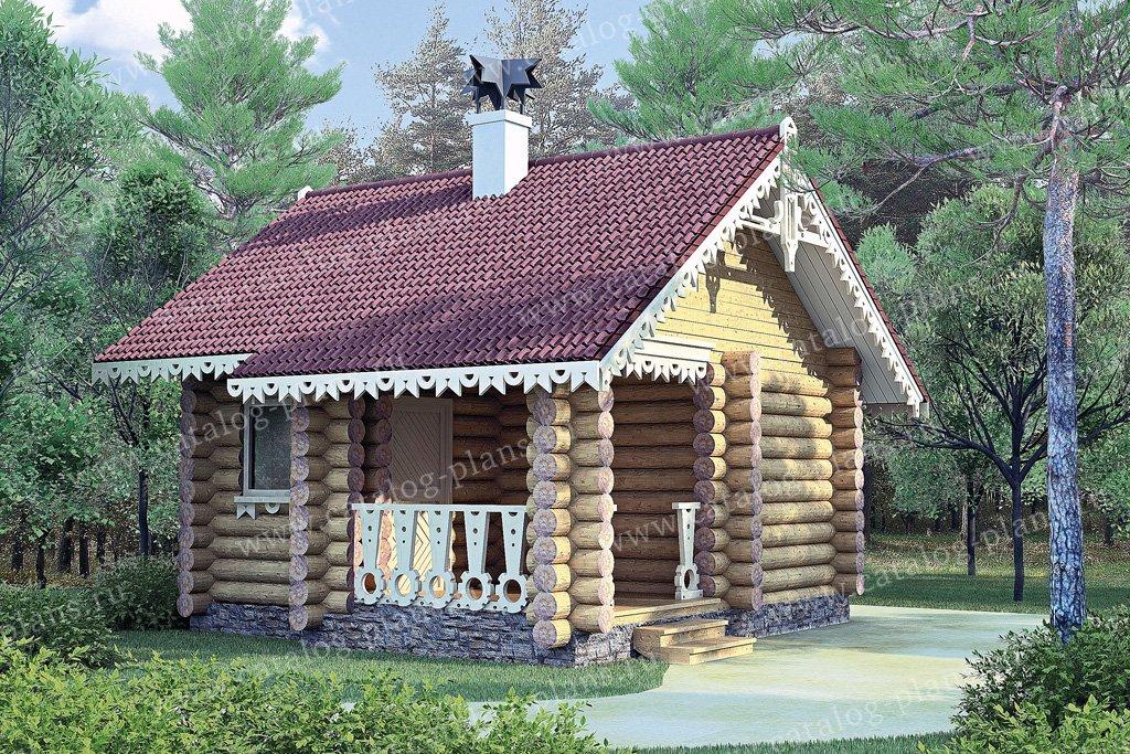 Проект баня #10-83 материал - дерево, стиль Русская усадьба