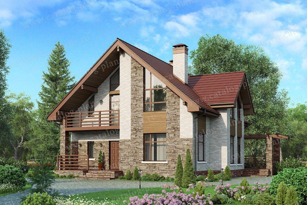 Проект жилой дом #57-00D материал - кирпич, стиль современный