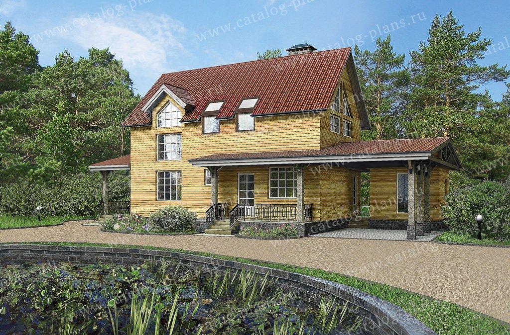 Проект жилой дом #10-50 материал - дерево, стиль скандинавский