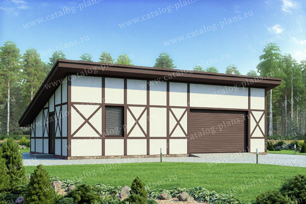 Проект гараж #70-81 материал - газобетон, стиль фахверк