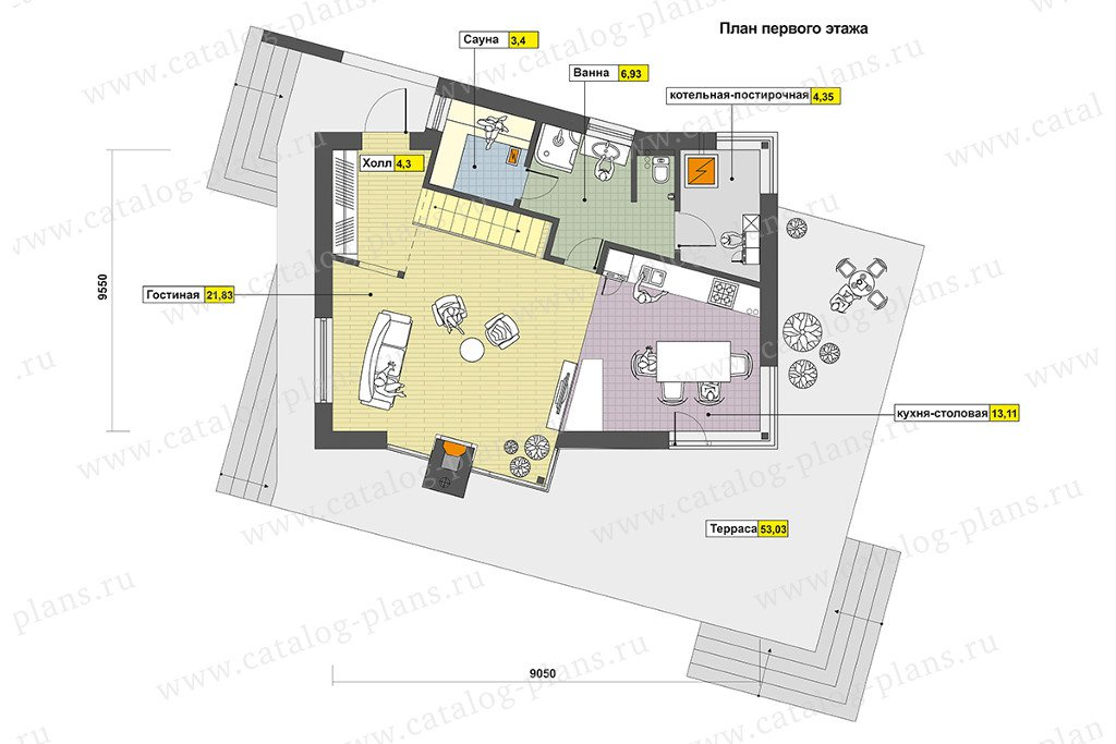 План 1-этажа проекта 60-89