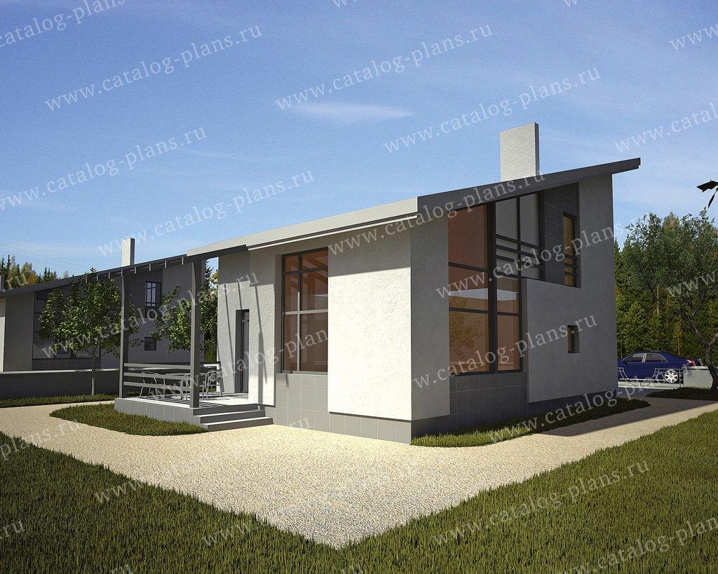 Проект жилой дом #49-97 материал - кирпич, стиль хай-тек