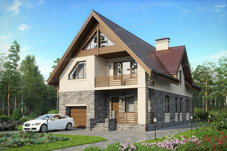 Проект жилой дом #59-89K материал - кирпич, стиль скандинавский