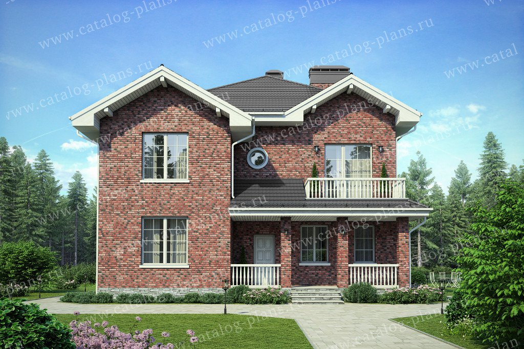 Проект жилой дом #40-56 материал - кирпич, стиль английский
