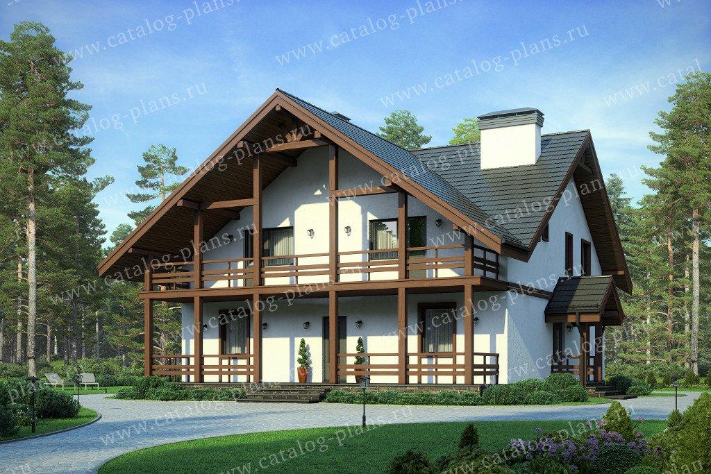 Проект жилой дом #58-22B материал - газобетон, стиль скандинавский