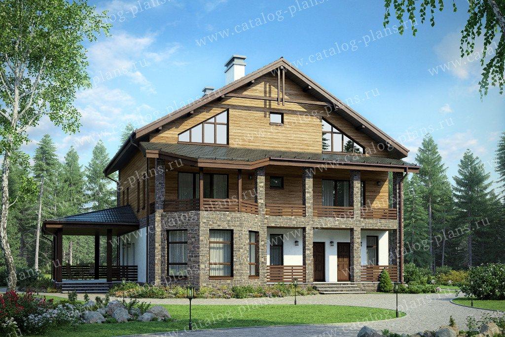 Проект жилой дом #57-34A материал - газобетон, стиль европейский
