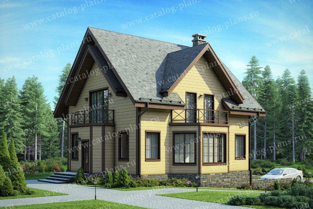 Проект жилой дом #13-60 материал - дерево, стиль европейский