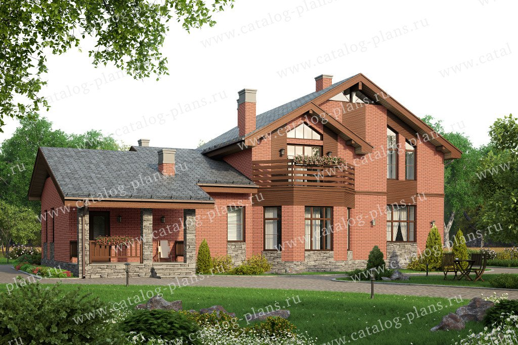 Проект жилой дом #40-23L материал - кирпич, стиль современный