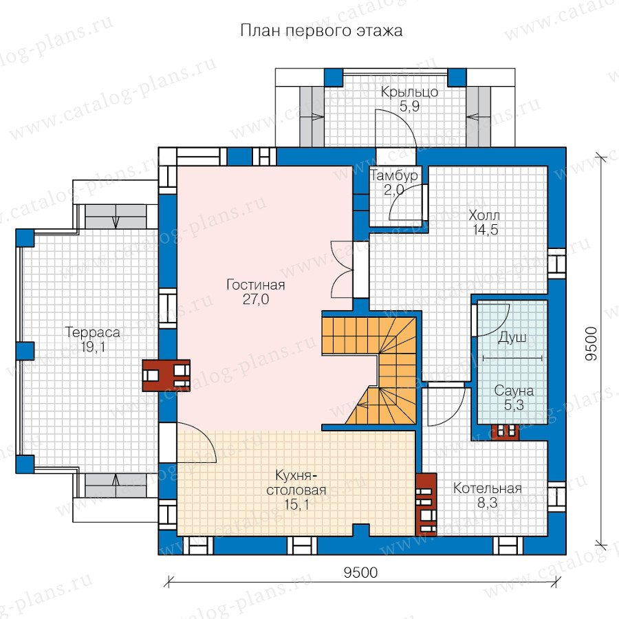 План 1-этажа проекта 59-79AL