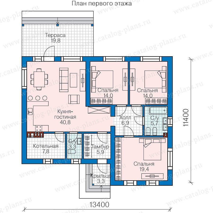 План 1-этажа проекта 58-70К
